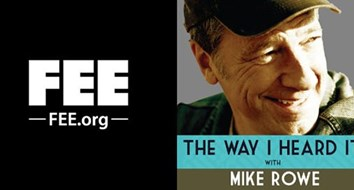 Mike Rowe Holds up a FEE Sign and Reads Lawrence Reed to His Audience