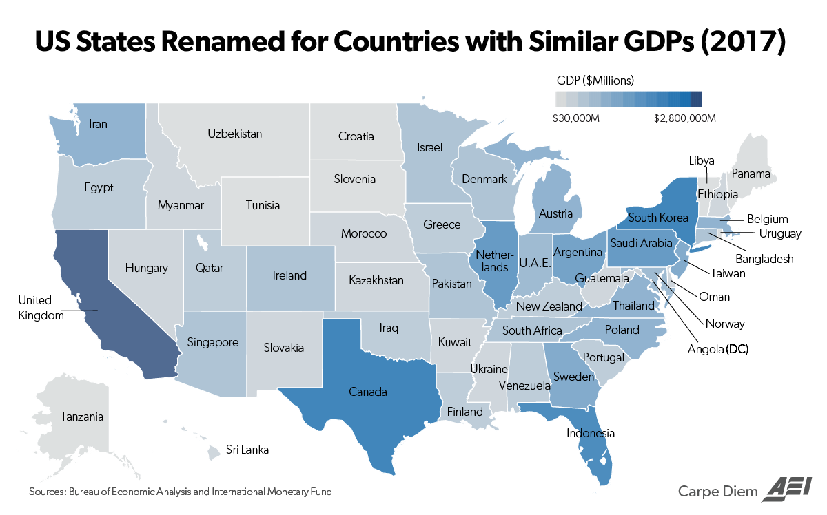 See What Foreign Country Your State Matches in Total GDP ...